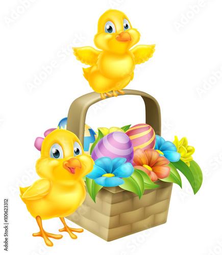 Fototapeta Cartoon Chicks and Easter Eggs Basket