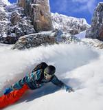 Snowboarder free rider on mountains