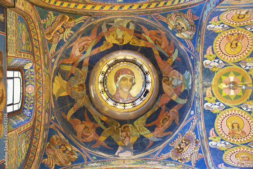 Interior of the Church of the Savior on Spilled Blood in St. Petersburg, Russia. The face of the mother of God