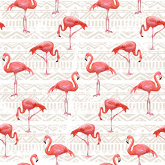 Flamingo Bird Background . Seamless vector pattern
