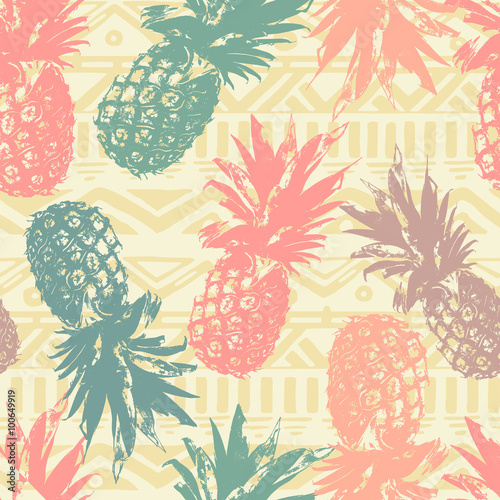 Seamless pattern with pineapple on tribal background in ...