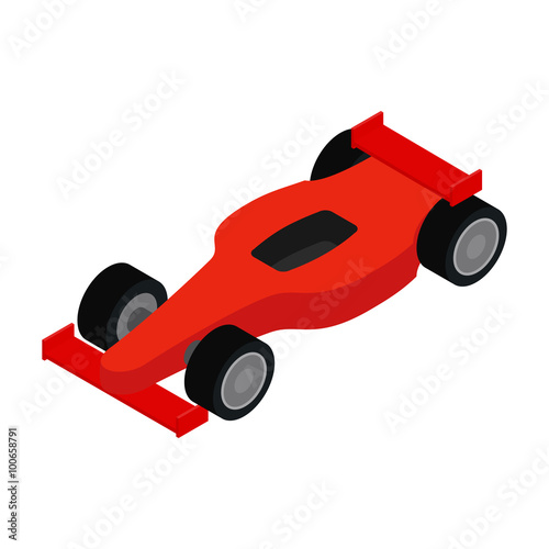 Poster Red racing car isometric 3d icon