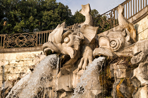 Fontana dei Delfini -The Fountain of the Dolphins, in the  Royal Palace of Caserta, Italy Poster