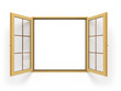 open wooden window isolated close up - 100662768
