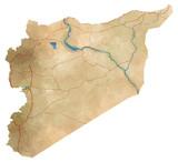 Cartina Siria, cartina fisica, disegnata a mano, illustrata