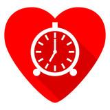 alarm red heart valentine flat icon