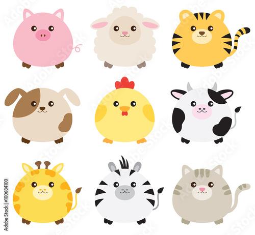 Naklejka Vector illustration of fat animals including pig, sheep, tiger, dog, chicken, cow, giraffe, zebra and cat.