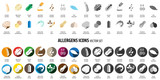 Allergens icons vector set