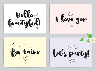 Greeting cards set for Valentines day. Caligraphical concepts. Hand drawn design elements. Inspirational quotes. Black and white.
