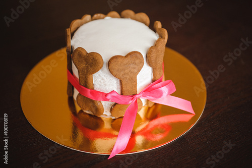 Dog Birthday Cake Decorated With Bone Cookies