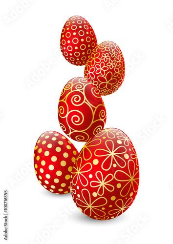 Fototapeta Easter eggs on white background