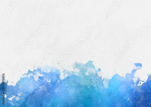 Colorful blue watercolor paint border Poster
