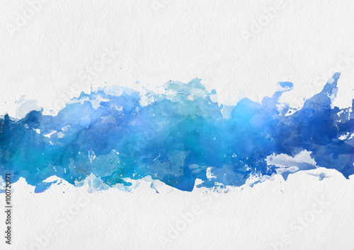 Artistic blue watercolor splash effect template Poster