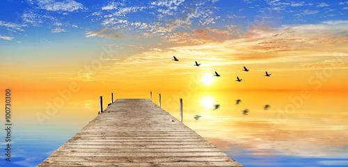 Fotobehang Een Hoekje om te Dromen atardecer en el mar