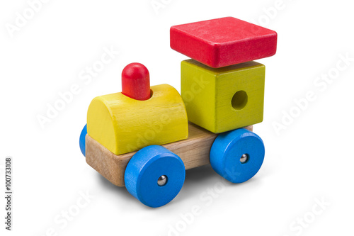 Wooden car - truck toy with colorful blocks isolated over white