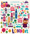 Obrazy na płótnie, fototapety, zdjęcia, fotoobrazy drukowane : Vector colorful pattern with London symbols