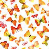 Seamless golden watercolor butterflies background texture