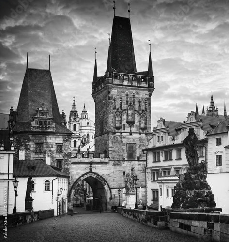 Poster Famous Charles Bridge in Prague  - view to the Old City - travel background, bla