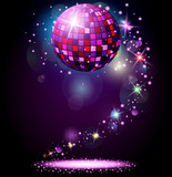 Fototapety Sparkling disco ball. Night party