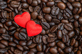 Fototapety Red satin hearts on coffee beans, valentines or mothers day background, love celebrate