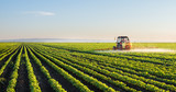 Tractor spraying soybean field - 100784174