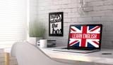 Fototapety laptop workplace learn english