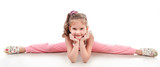 Fototapety Cute little girl doing gymnastic exercise