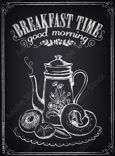 Plagát, Obraz Vintage Poster. Breakfast time. Coffee/tea and bakery