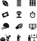 AMERICAN FOOTBALL black icons pack