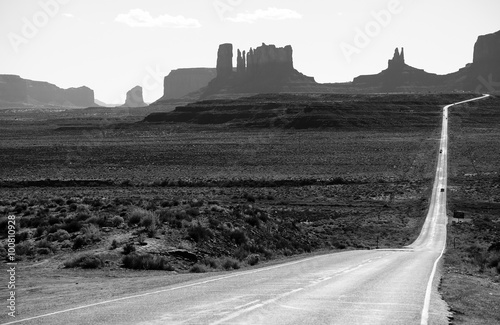 Poster Road US 163 in Monument Valley Park, Utah, USA