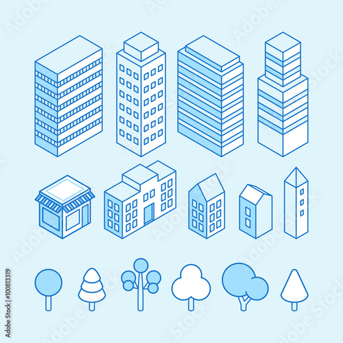 Foto Spatwand Lichtblauw Vector city landscape isometric illustration and icons set - map design elements