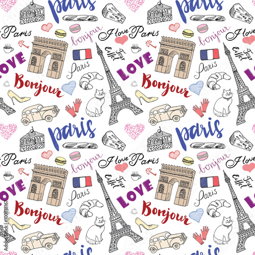 Tapeta Paris seamless pattern with Hand drawn sketch elements - eiffel tower triumf arch, fashion items. Drawing doodle vector illustration, isolated on white