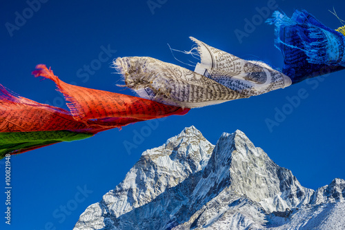 Prayer flags in the Himalayas with Ama Dablam peak in the backgr Poster
