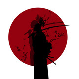 Japanese samurai with his bloody side projected