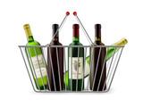 Metallic Shopping Basket With Wine Pictogram