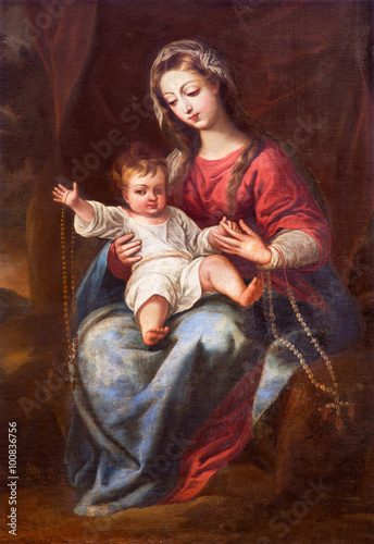 Plakat GRANADA, SPAIN - MAY 31, 2015: The Madonna (The Virgin of the Rosary) painting in church Monasterio de la Cartuja by unknown artist of 18. cent.