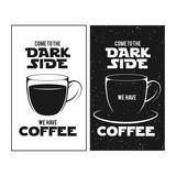 Fototapety Dark side of coffee print. Chalkboard vintage illustration.