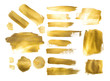 Collection of golden paint strokes to make a background for your