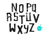 Fototapety Grunge uneven handwritten alphabet, vintage calligraphy, stamp s