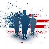 Fototapety Saluting soldiers silhouette on american flag background