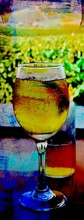 Glass with ice cold cider abstract