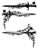sword among rose flowers