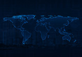 Light blue world map on city and business graph background, Elem
