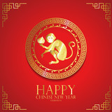 Red gold circle chinese new year background with monkey