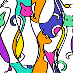 Seamless Pattern Of Geometric Abstract Cats.