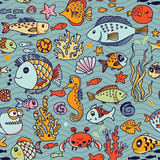 Cartoon underwater seamless pattern with crab, fishes, seahorse, corals and other marine elements. Seamless pattern can be used for wallpapers, web page backgrounds