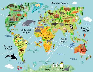 Obrazkowa mapa świata zwierzęta do pokoju dziecka