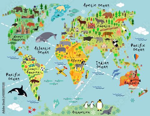 Fototapeta Cartoon world map