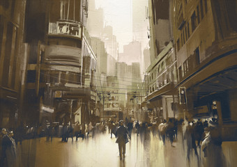 people on street in city,cityscape painting with vintage style © grandfailure