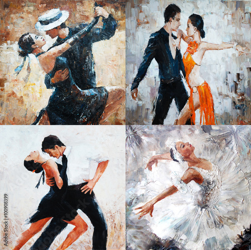 Obraz na Szkle tango dancers, oil painting, girl ballerina. 4 IN 1